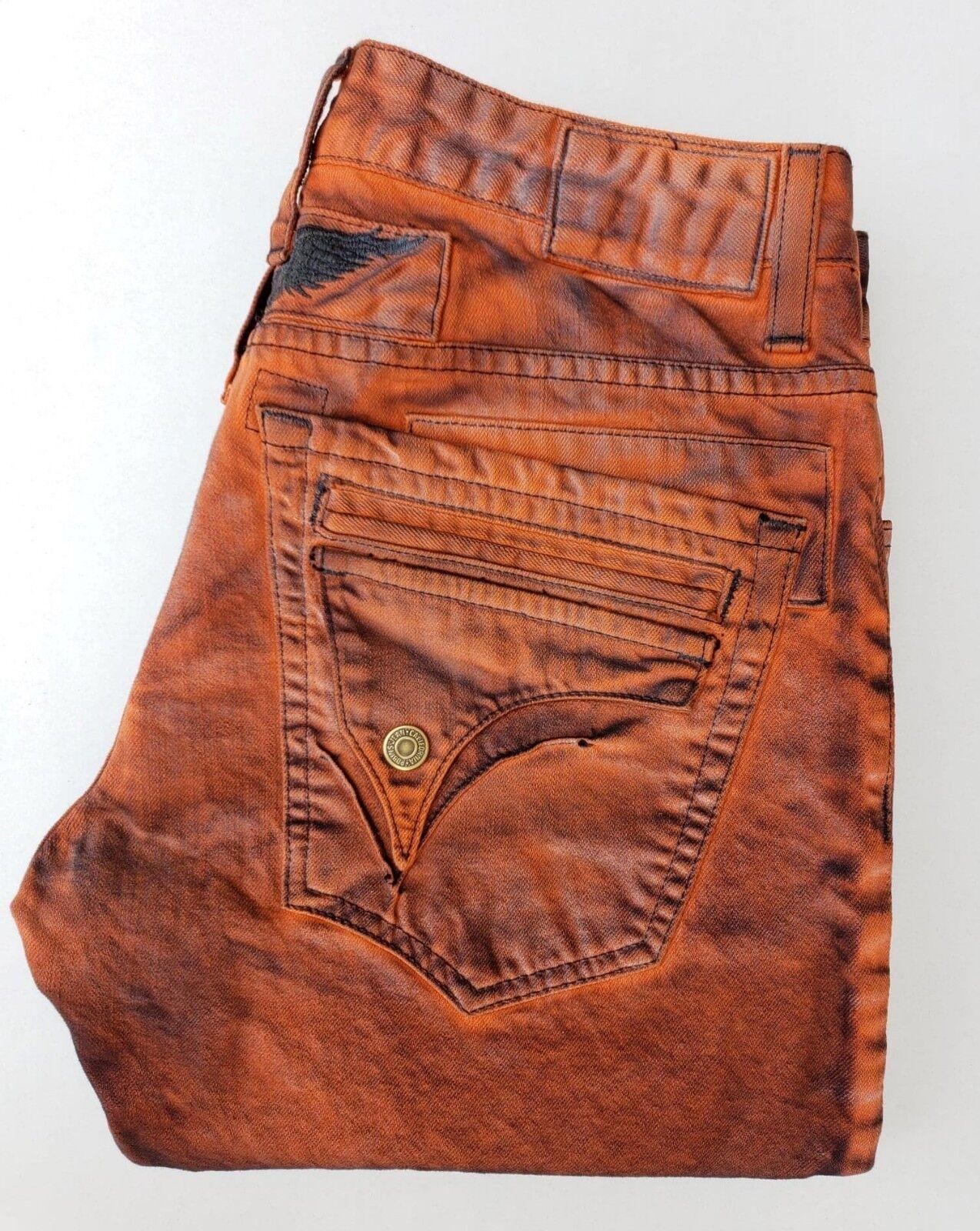 Neu Herren ROTKEHLCHEN Jeans Sz 40 Kurz Überschlag Eng Gerade Antik Jeans Orange