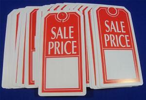 Qty-100-Red-White-Sale-Price-Tags-with-Slit-Merchandise-Price-Tags
