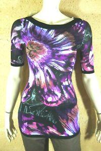 DESIGUAL-Taille-S-36-Superbe-haut-top-tee-shirt-manches-courtes-violet-tunique