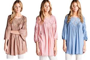 JODIFL-Womens-Boho-Emboridered-Lace-Bohemian-3-4-Sleeve-Top-Blouse-Tunic-S-M-L