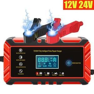 Auto KFZ Ladegeräte 8A 12V/24V Vollautomatisches Batterieladegerät KFZ mit LCD