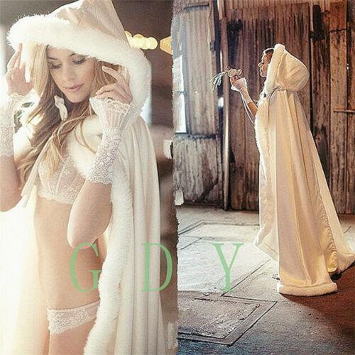 Bridal Winter Wedding Cloak Cape Satin Hooded with Fur Trim Long Bridal Winter
