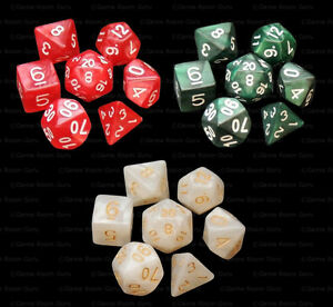 Green White Black Marble 3 NEW Sets of 7 Polyhedral Dice 3 Dice Bags RPG