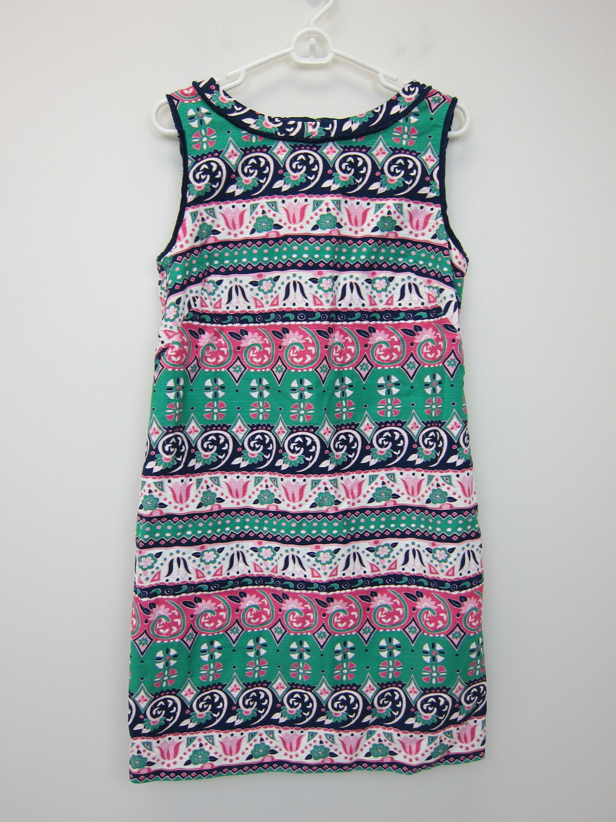Talbots Woherren Texturot Fringe-Neck Shift Dress Größe 10 Multi  NWT
