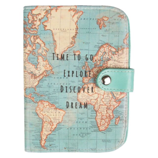 ec5eacfe5 Vintage Map Time To Go Passport Holder Blue Womens Travel Holiday Cover  Holder