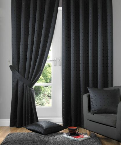 "MADISON FULLY LINED CURTAINS//DRAPES,3/"" TAPE TOP,4 COLOURS,SEMI PLAIN DESIGN"
