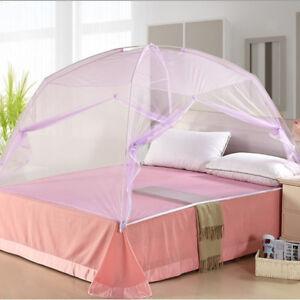 Purple Folding Mongolian Yurt Canopy Mosquito Bug Net For Single Bed 1.2*2m