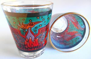TWO-Phoenix-Bird-on-FIRE-Red-amp-Blue-Shot-Glasses-2-X-2-inch-NEW
