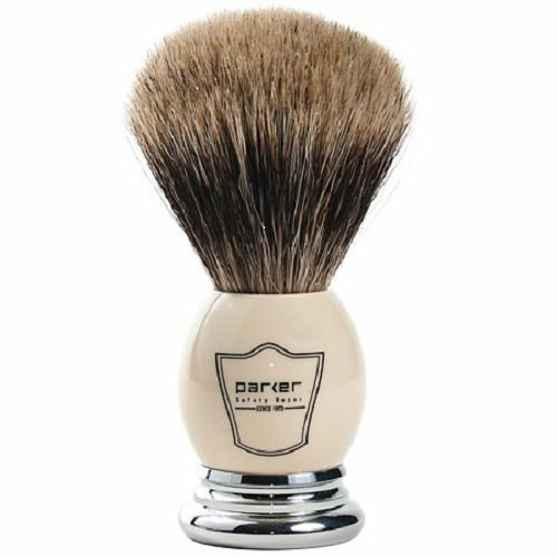 Parker Safety Razor 100% Best Badger White & Chrome Shaving Brush Includes Stand