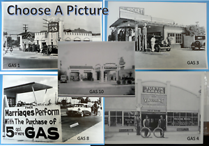Antique-Gas-Stations-amp-Service-Garages-Black-amp-White-Picture-12-X-18-034