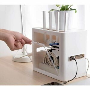 Power-Plug-Socket-Storage-Box-Case-Bracket-Cable-Wire-Cord-Router-Organizer-US