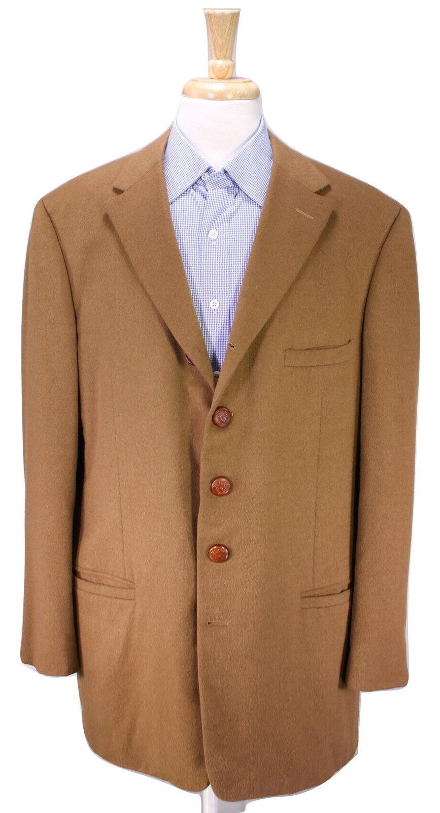 GIANNI VERSACE  Camel Braun 5-Btn 100% Cashmere Sportcoat Blazer 46L