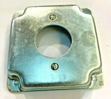 1 Gang 4x4 Square Metal Electrical Box Cover For 20a Twist Receptacle 8379 New