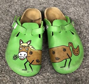 75c6be70d33 childs green BIRKI S WOODBY GREEN HORSE boston mule clogs ...
