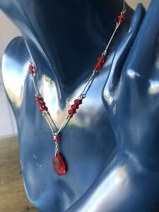 EDWARDIAN ROLLED GOLD RED CRYSTAL CUT GLASS DROP PENDANT BEAD NECKLACE PRETTY