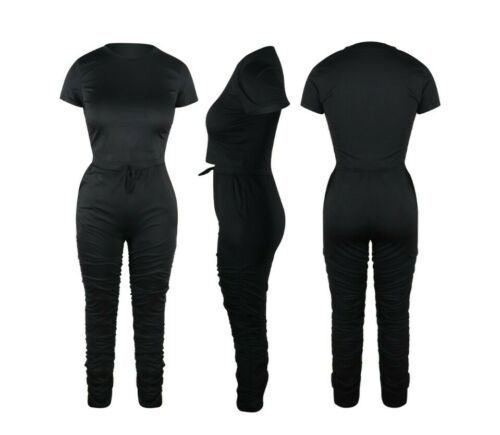 Women Tracksuit 2PC Set Crop Top+Flare Stacked Pants Casual Joggers Loungewear