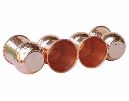 12 PC 100/% Copper 400ml Hammered Drinking Glass Cup Tumbler Ayurveda Health Yoga