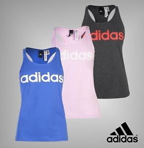 Ladies-Genuine-Adidas-Linear-Tank-Top-Climalite-Racer-Back-Vest-Size-6-22