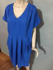 BNWT-Womens-Sz-18-Autograph-Brand-Soft-Viscose-Cobalt-Blue-Shift-Dress-RRP-90