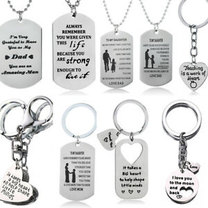Christmas Gifts For Mom Dad Son Daughter Necklace Keyring Mother Mom Presents