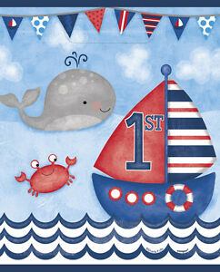 Image Is Loading 1st Birthday Nautical Favor Bags 8 First Party