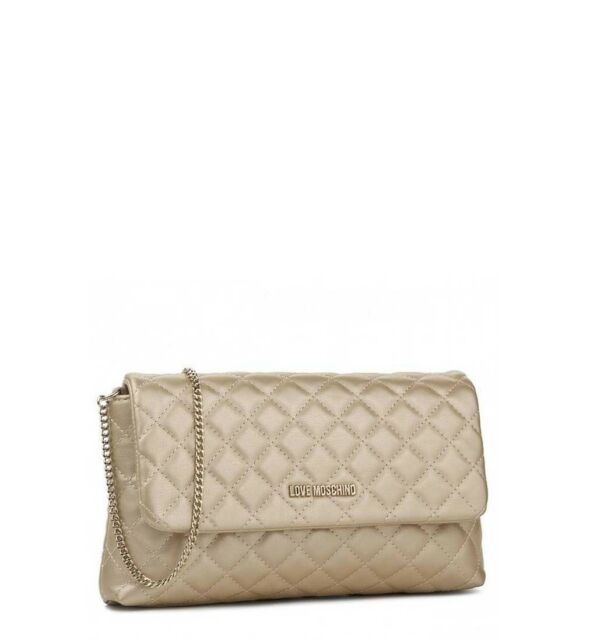 50ca842b700 Love Moschino Womens Crossbody Bag Guilted Gold 2018 Small Handbag ...