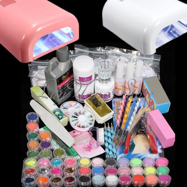 Kit Acrilico Uñas Manicura Pedicura Lámpara Completo Francesa Nail Art Gel UV