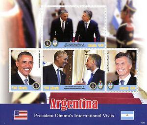 Liberia 2016 MNH Barack Obama Visits Argentina 4v M/S US Presidents Stamps