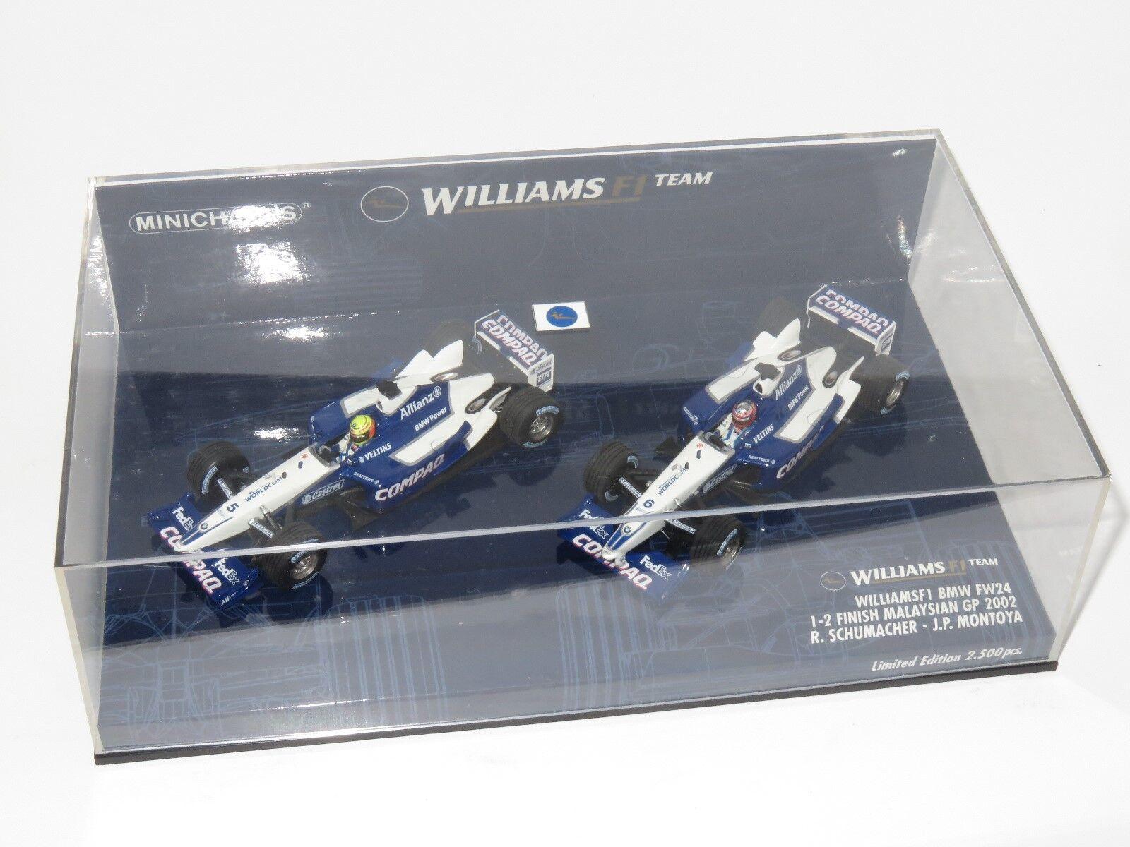 WILLIAMS BMW FW24 Malaysian GP Ensemble limité R. Schumacher & J. Montoya 1st & 2nd