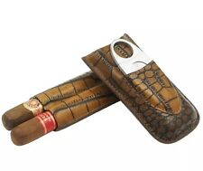 COHIBA Brown Leather Croco 2 Cigar Tube Travel Holder Case Humidor With Cutters