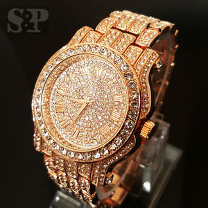 Men Hip Hop Iced Out Rose Gold Techno Pave Bling Simulated Diamond Rapper Watch Ebay