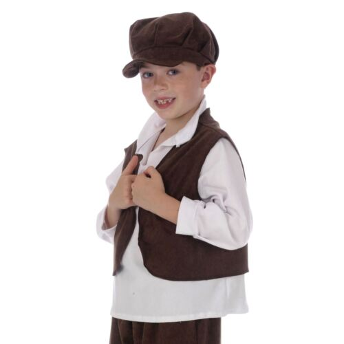 Childrens Pauper Brown Waistcoat Poor Chimney Oliver Sweeper Book Day Costume UK