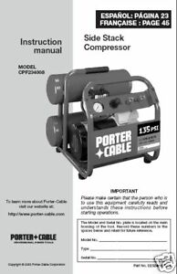 Porter Cable Air Compressor Instr Manual Cpf23400s Ebay