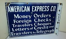 AMERICAN EXPRESS CO. PORCELAIN FLANGE SIGN 2 Sides Doubled Sided Flanged Antique