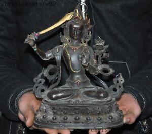 Tibet-bronze-Gilt-Inlay-Gem-Manjushri-sword-tara-Kwan-Yin-Guan-Yin-buddha-statue