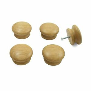 5 X Oak Wooden Door Drawer Knobs Kitchen Cupboard Cabinets 55mm Diameter