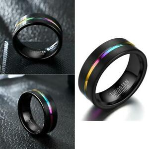 8mm-Alloy-Black-Rainbow-Herren-Ring-Damen-Hochzeit-Verlobungsband-Groesse-6-Heiss