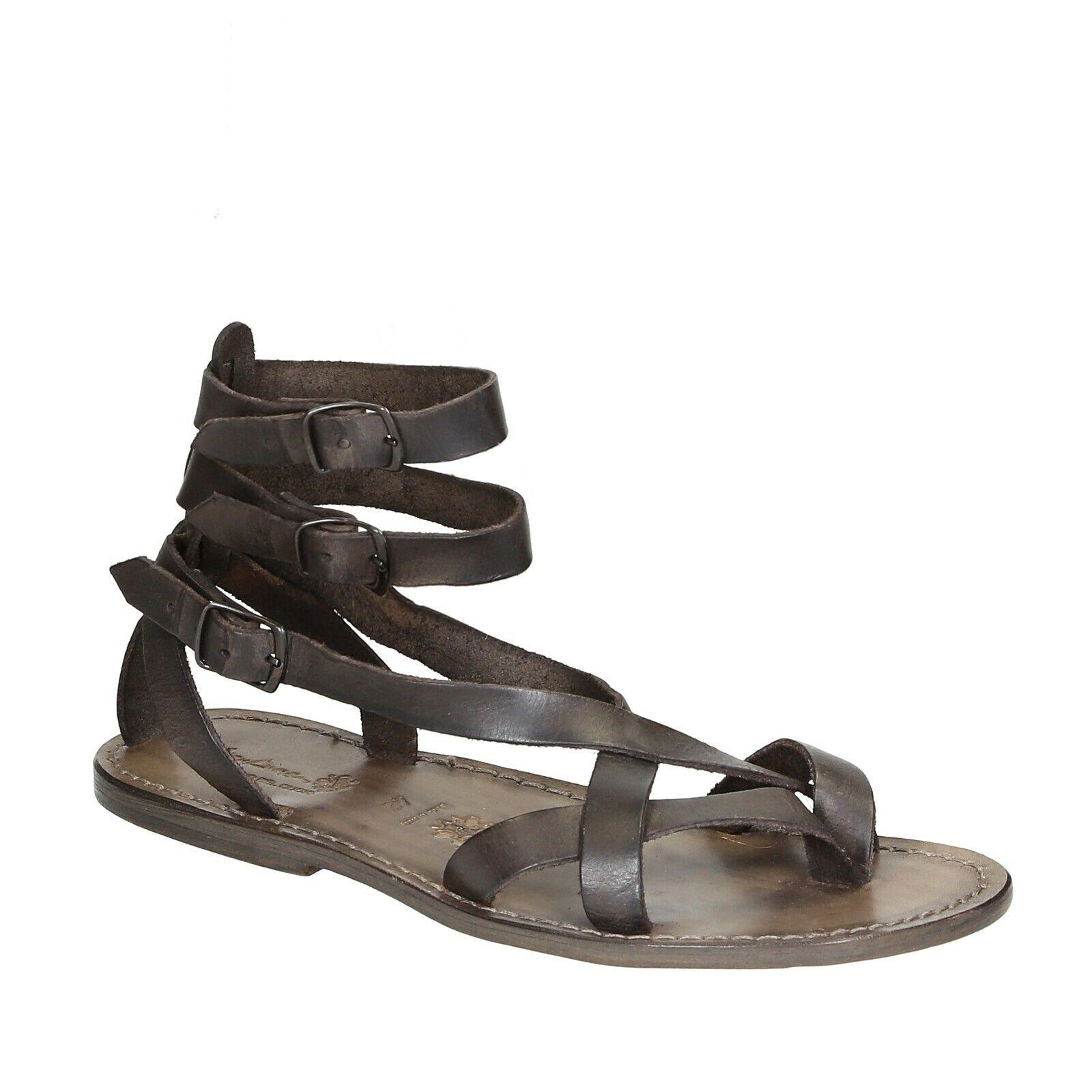 Fait Main Lanières plates ouvertes sandales pour hommes dans la boue en cuir véritable chaussures italiennes