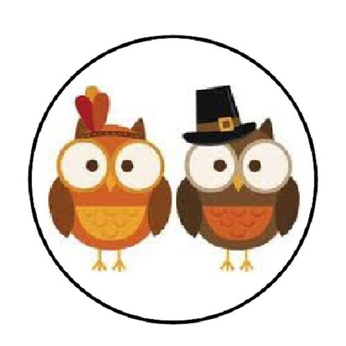 "48 Thanksgiving Owls!! ENVELOPE SEALS LABELS STICKERS 1.2/"" ROUND"