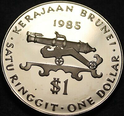 1985 Selten Beweis ~ Sultan Hassanal Bolkiah ~ Antik Cannon ~ 10k Buy Now Disciplined Brunei 50 Sen Other Asian Coins Coins: World