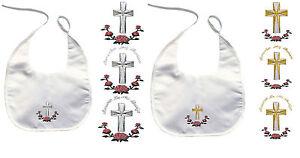 Baby Kid Toddler Keepsake Dedication Christening Baptism White BIB Cross Flower
