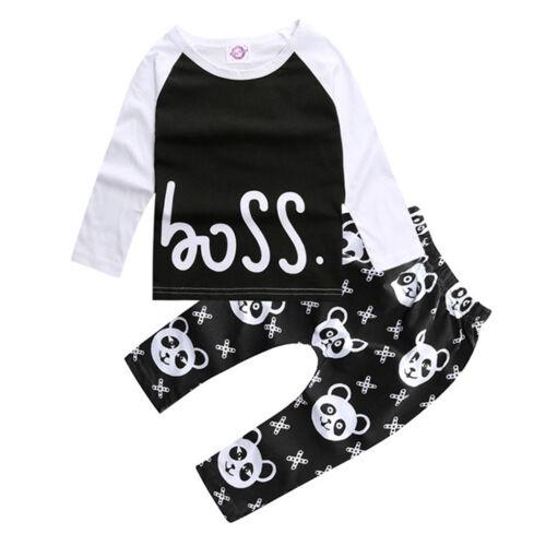 Baby Junge Outfit Set Langarm Tops T-shirt Panda Hose Lang Hosen Kinder Kleidung