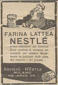 W5834 Farina Lattea Nestlè - Pubblicità 1926 - Advertising