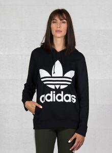Adidas Trefoil hoodie Felpa Donna cappuccio Nera 40 Nero