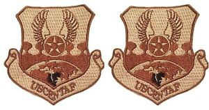 2-Pack-US-Air-Force-Central-Command-USCENTAF-SewOn-Desert-Tan-Military-Patches
