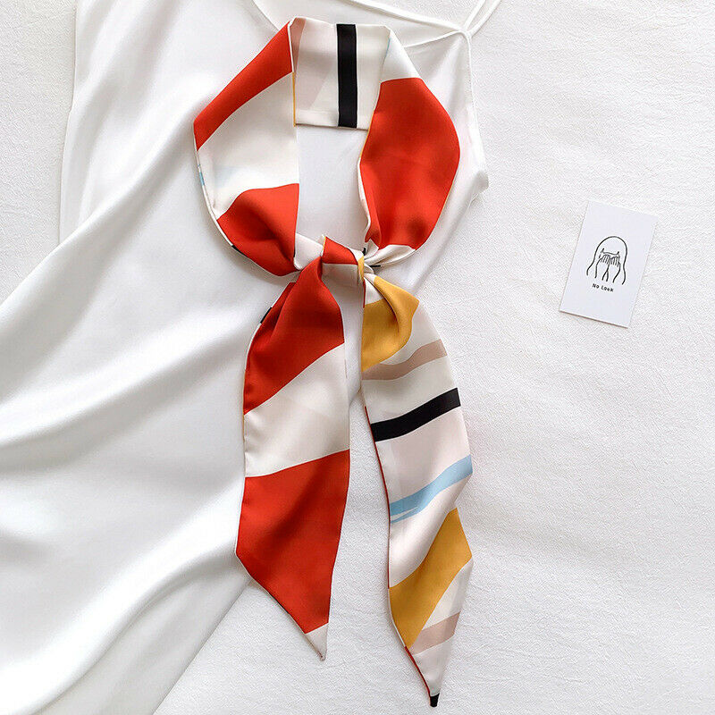 Spring And Autumn New Color Matching Narrow Ribbon Scarf For Women Hair Band