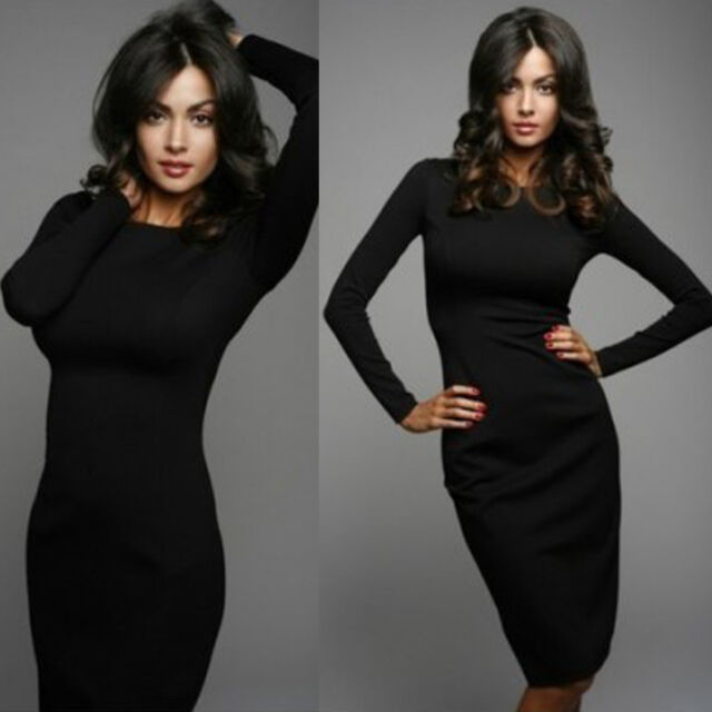 Womens Elegant Long Sleeve Bodycon Party Evening Work Business Pencil Dress 6-14