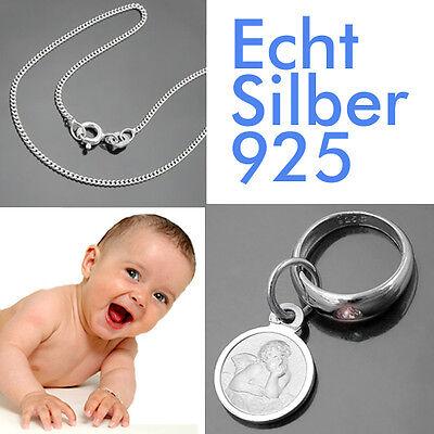 Taufring mit Schutzengel und Panzerkette Echt Silber Baby Schmuck 925 Taufe neu