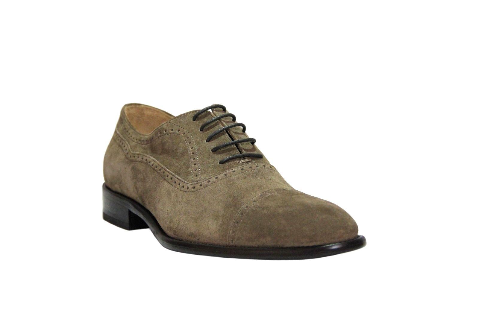 Calzoleria Toscana Men's Oxford Taupe Suede Cup Toe Dress shoes E215