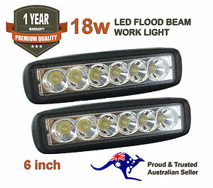 2x-6inch-18W-LED-Light-Bar-Driving-Lamp-Flood-Truck-Offroad-UTE-4WD-Work-Spot